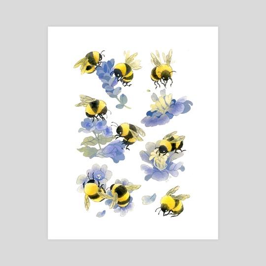 Fuzzy bees by Riikka Auvinen