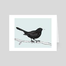 Blackbird pen drawing - Art Card by Bianca Wisseloo
