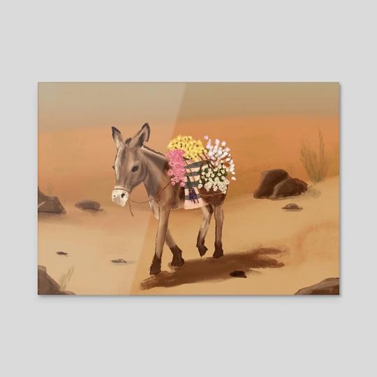 Donkey Carrying Flowers by Mira Taliaferro