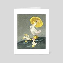 Rainy day ducks - Art Card by Charlene Chua