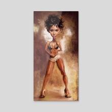 Halle Berry - Acrylic by Alexander Novoseltsev