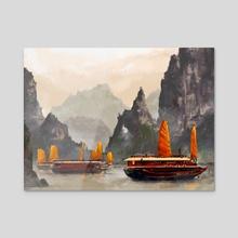 Ha Long Bay - Acrylic by Micaela Dawn