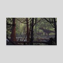 Tyrannosaur and Cretaceous Flora - Canvas by Douglas Henderson