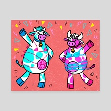 Cow Party - Canvas by Smitukey