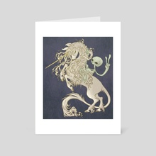 Alien Riding Unicorn - Art Card by Savannah Horrocks