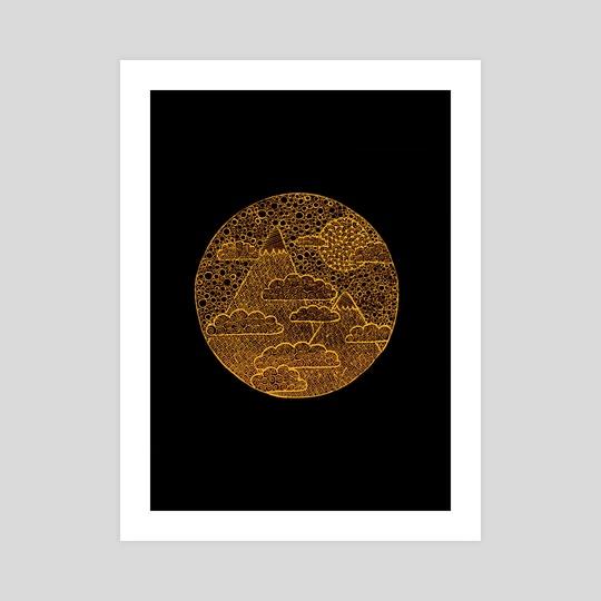 Golden Zen Landscape by Sebastian Grafmann