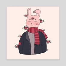 Winter Style Bunny enjoying solitude - Canvas by Opixic Art