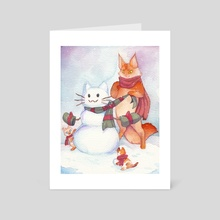 Snow Kitties - Art Card by T. A.