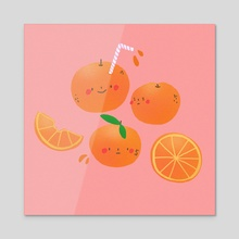 orange juice - Acrylic by Annie Nguyen