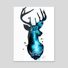 Milky Way Deer Silhouette with Crystals - Acrylic by Addison Kanoelani