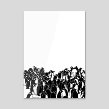 Mono and Penguins Portrait - Acrylic by Mono