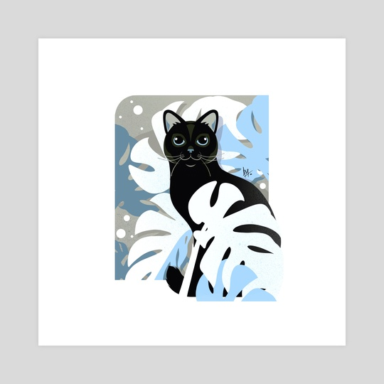 Black Cat among Monstera (blue) by Anuradha Grover