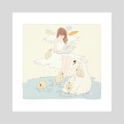 swan sitting. - Art Print by vi