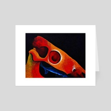 Dartmoor Pony Skull Abstract 5 - Art Card by Peter Andrew