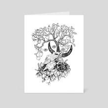 Cow skull and apple tree - Art Card by Natalia Mikhalchuk
