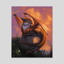 Foxdragon At Rest - Canvas by Claudio Pozas