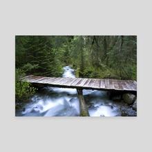 Flathead River Footbridge, MT - Canvas by Bob Rollar