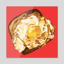Egg on Toast - Acrylic by vanillapuffpuff