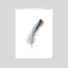 Blue Feather Drawing - Art Card by Emmy Kalia