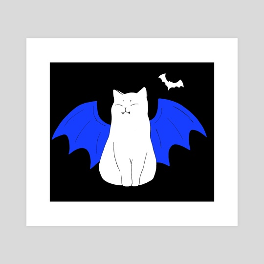 Vampire cat with wings and bat / design 6 by Emii Emilova