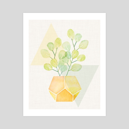 Pastel Watercolor Plant on Geometric Abstract by Modern Tropical