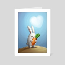 White bunny with carrot in love - Art Card by Olga Yatsenko