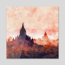 Temples in Myanmar - Mixed Media - Acrylic by Dreamframer