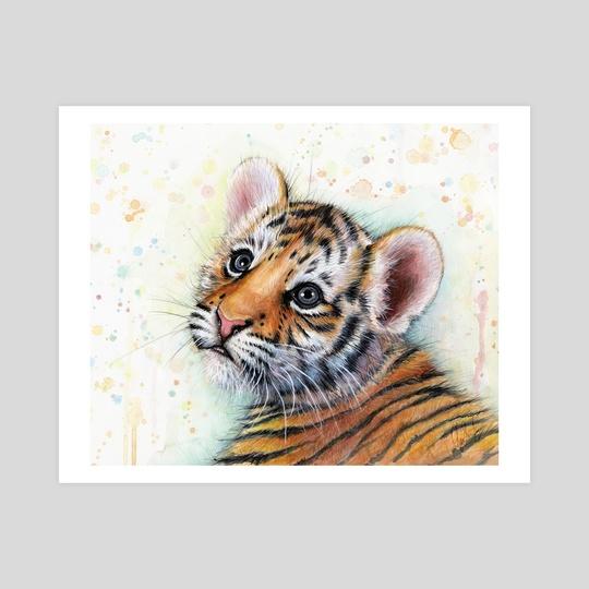 Tiger Cub Watercolor Art by Olga Shvartsur