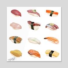 Nigiri Chart - White - Acrylic by jungmi k
