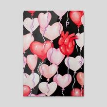 Heart Balloons - Acrylic by Jasminnows