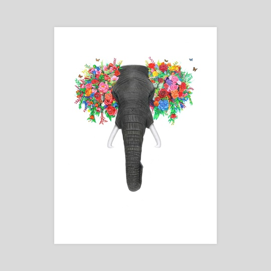 Floral Tusker by Kevin Kabue