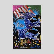 Blue Aztec Deer - Canvas by Juan Francisco Herrera