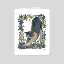 Blue cat floral - Art Card by alejandra caballero
