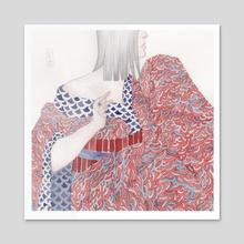 Red Kimono - Acrylic by neringa mat