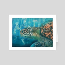 Green back turtle - Art Card by Carl Conway