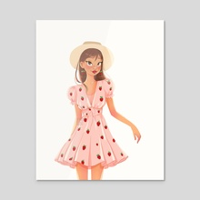 Strawberry girl - Acrylic by Emilia Strilchuk