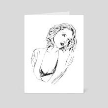 Negligee girl - Art Card by Sasha Mirov