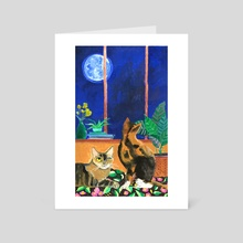 Full Moon Watching - Art Card by Annisa Frankes-Purwanto
