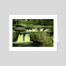 Impressionist View of Low Force Waterfall - Art Card by Dominic Wade