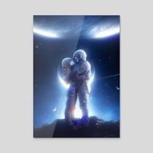Space Love - Acrylic by Nikki Arts