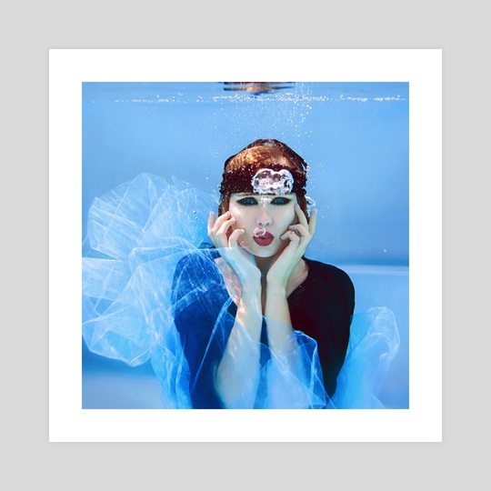 art portrait of beautiful woman underwater by Kateryna Mostova