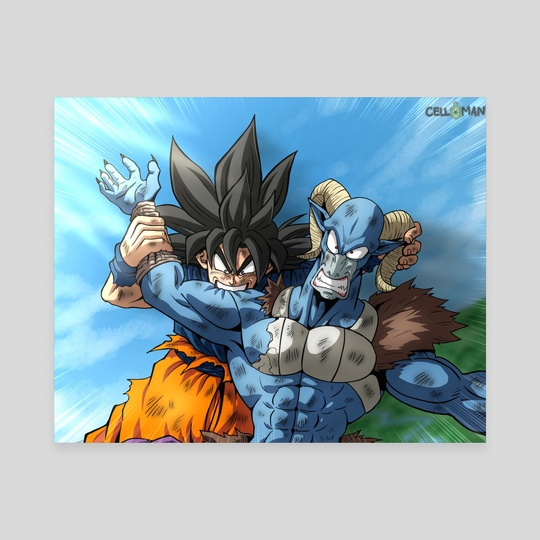 Goku Biting Moro by CELL-MAN