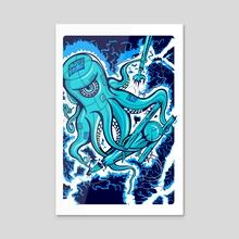 """Sandy"" Electric Octopus Squid Nautical Print - Acrylic by matt schnepf"