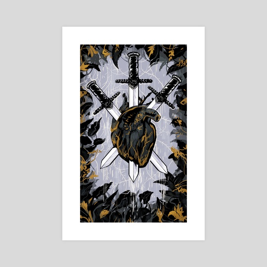 3 of Swords - Charity Print by Emily Lubanko
