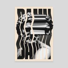 Damn Typographic Illustration Print - Canvas by Sam Sheridan