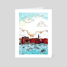 Harbor - Art Card by Gouache & Ink