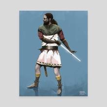 Sword man - Canvas by Soroush Saber