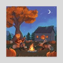 Pumpkin patch - Canvas by Indira Muzbulakova