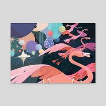 Interstellar Flamingos - Acrylic by Kim Salt