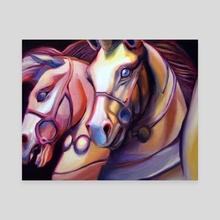 Laser Horses - Canvas by Martha Wirkijowski